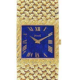 Piaget 18k Yellow Gold Blue Lapis Lazuli Dial Vintage Mens Watch 9352