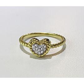 David Yurman Yellow Gold Pave Diamond Petite Heart Ring