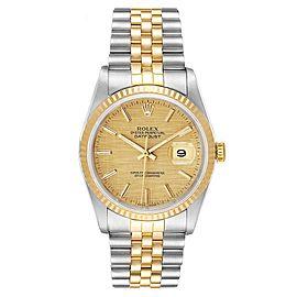 Rolex Datejust 36 Steel Yellow Gold Linen Dial Mens Watch 16233