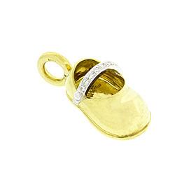 Aaron Basha 18K Yellow Gold & Diamond Strap Baby Shoe Pendant