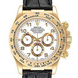 Rolex Daytona Yellow Gold White Dial Black Strap Mens Watch 116518