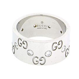 Gucci 18K White Gold Diamond Ring Size 5.5