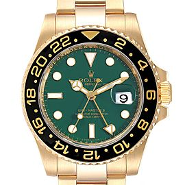 Rolex GMT Master II 18K Yellow Gold Black Dial Mens Watch 116718
