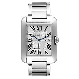 Cartier Tank Anglaise XL Steel Automatic Mens Watch W5310008 Box Papers