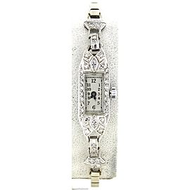 900 Platinum 14K White Gold Diamond Vintage 30mm Womens Watch