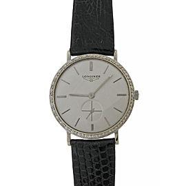 Longines Solid 14k White Gold Diamond Bezel Utra Thin 34mm Vintage Watch