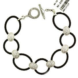Philippe Charriol Diamond 18 Karat White Gold & Black Charriol Steel Bracelet