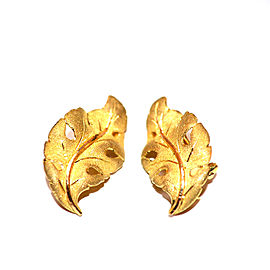 Buccellati 18K Yellow Gold Leaf Earrings
