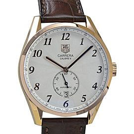 Tag Heuer WAS2140.FC8176 Carrera Heritage 18K Rose Gold Brown Leather Mens Watch
