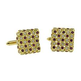 18K Yellow Gold Ruby And Diamond Square Cufflinks