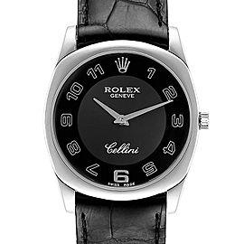 Rolex Cellini Danaos 18K White Gold Black Dial Mens Watch 4233 Unworn
