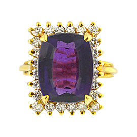 14K Yellow Gold Cushion Amethyst And Diamond Ring
