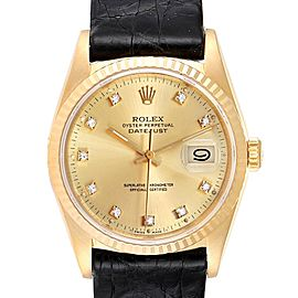 Rolex Datejust Yellow Gold Diamond Dial Mens Watch 16238 Box Papers