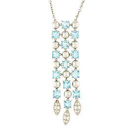 Bulgari 18K White Gold Lucea Aqumarine+ Diamond Necklace
