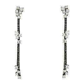 Staurino Fretelli 18K White And Black Gold With White And Black Diamonds Line Earrings