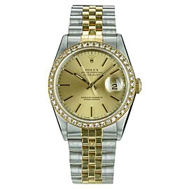 Rolex Datejust 16013 Stainless Steel and Yellow Gold Diamond 36mm Automatic Mens Vintage Watch