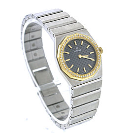 Concord Mariner SG Stainless Steel 18K Gold Diamond Black Quartz Womens Watch