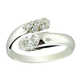Bulgari 18K White Gold Diamond Bypass Wrap Snake Band Ring Size Medium