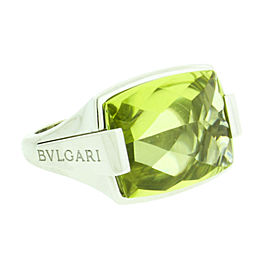 Bulgari 18K White Green Peridot Ring