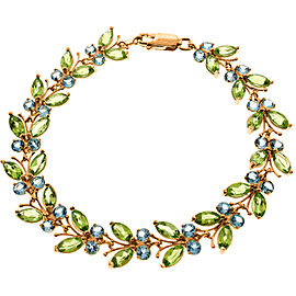 14K Solid Rose Gold Butterfly Bracelet with Peridot & Blue Topaz