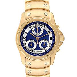 Cartier Santos Ronde Chronograph Blue Dial Yellow Gold Watch W15078G1