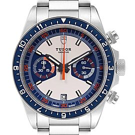 Tudor Heritage Chrono Blue Stainless Steel Mens Watch 70330 Box Card