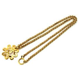 Chanel CC Gold Tone Coco Mark Necklace