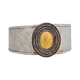 Gurhan Yellow Gold and 925 Sterling Silver Gavalier Cuff Bangle Bracelet