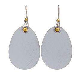 Gurhan 24K Yellow Gold & Silver Nokta Discus Egg Shape Diamond & Frosted Calcedoney Earrings