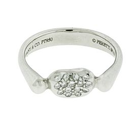 Tiffany & Co. Platinum Diamond Elsa Peretti Bean Ring