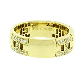 Hermes 18K Yellow Gold H Diamond Ring Size 4.5