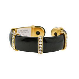 Tiffany & Co. Paloma Picasso 18K Yellow Gold Diamond Onyx Cuff Bangle Bracelet