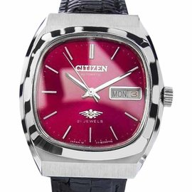 Citizen Automatic 21 Jewels Stainless Retro 34mm Vintage Mens Watch 1970s