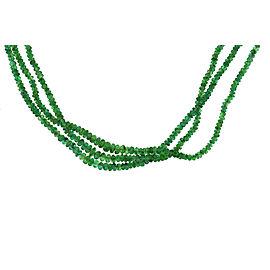 14K Yellow Gold Green Emerald 3 Row Strands Of Beads Necklace