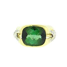 Tiffany & Co. 18K Yellow Gold Diamond & 4ct Green Tourmaline Ring