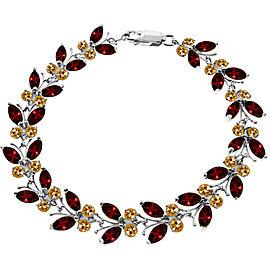 16.5 CTW 14K Solid White Gold Butterfly Bracelet Garnet Citrine