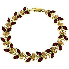 16.5 CTW 14K Solid Gold Butterfly Bracelet Garnet Citrine