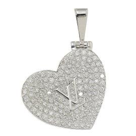 Louis Vuitton 18K White Gold & Diamond Heart Locket Pendant