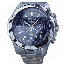 Seiko Chronograph Tachymeter Stainless Steel Quartz Sport 44mm Mens Watch 1990s