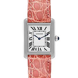 Cartier Tank Solo Steel Pink Strap Ladies Watch W5200005