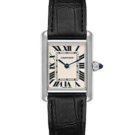 Cartier Tank Louis 18k White Gold Black Strap Ladies Watch W1541056