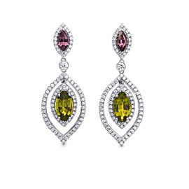 Leibish 18K White Gold with 2.78ct Tsavorite, 0.82ct Tourmaline and 1.08ctw Diamond Drop Earrings