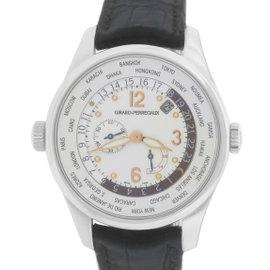 Girard Perregaux World Time WW.TC Power Reserve 49850 18K White Gold 41mm Mens Watch