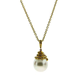 Asprey 18K Yellow Gold 0.38 Ct Diamond and Pearl Drop Pendant Necklace