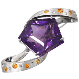 18K White Gold with 32.92ct Amethyst, 0.66ct Citrine & 0.16ct Diamond Brooch