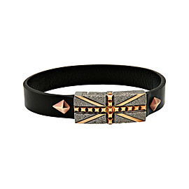 Stephen Webster 925 Sterling Silver Union Jack Leather With Magnetic Clasp Bracelet