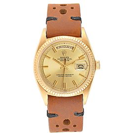 Rolex President Day-Date Vintage Yellow Gold Brown Strap Mens Watch 1803