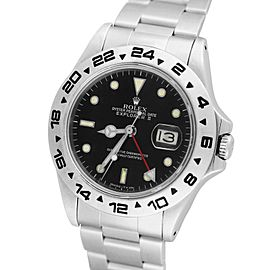 Rolex Explorer II 16550 Fat Font Stainless Black Date GMT Date 40mm Mens Watch