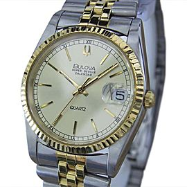 Bulova Super Seville Stainless Steel Quartz 36mm Mens Dress Watch 1980
