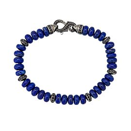 Stephen Webster 925 Sterling Silver Thorn Lapis & Pave Black Sapphire Beads Bracelet